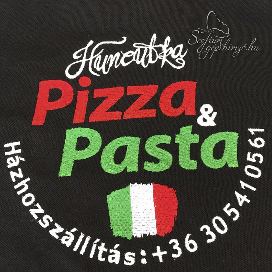Pizzeria hímzett póló - Gépihímző.hu - Scofium Kft - gépihímzés ... 3caee76af8